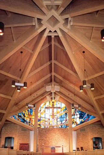 Wood Ceiling in Church with Stained Glass Windows